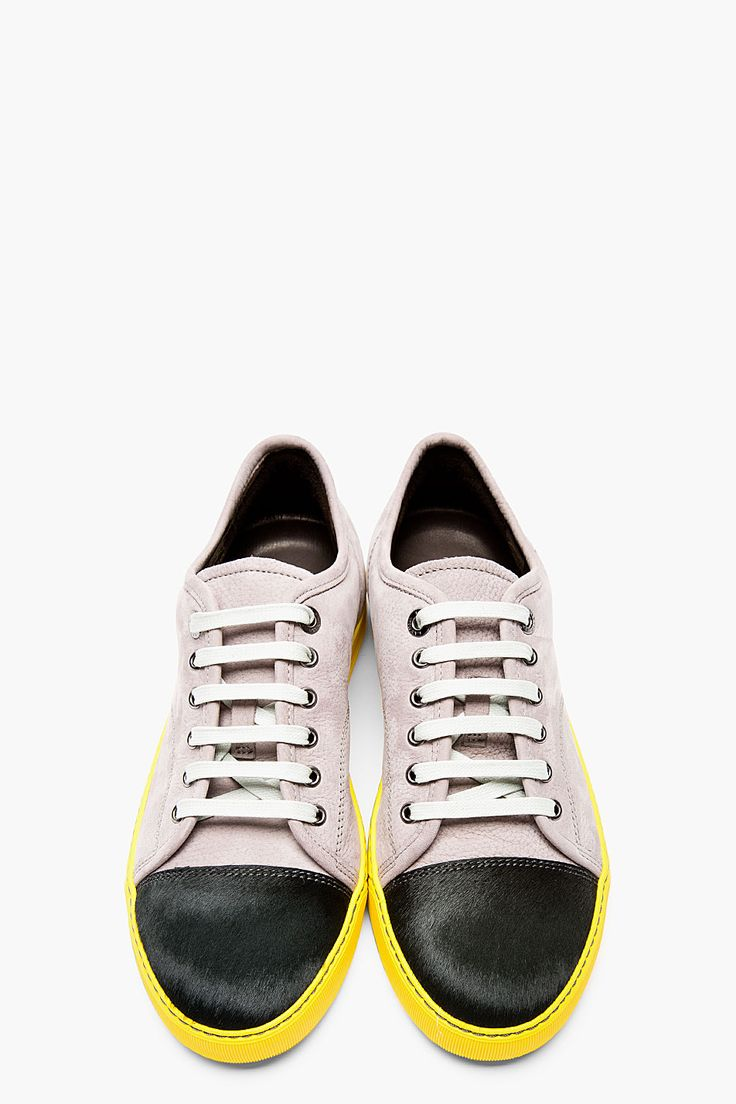 LANVIN Grey leather & calf-hair Tennis sneakers, Men's Spring Summer Fashion.