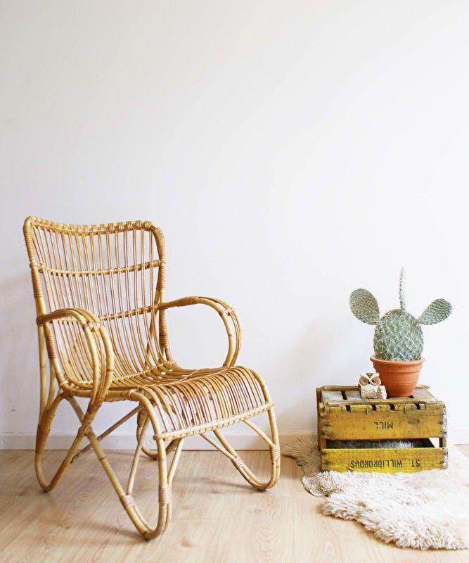 Toffe rotan fauteuil. Vintage stoel met heerlijk retro design. Rohe Noordwolde? | Kekke meubels | Flat Sheep