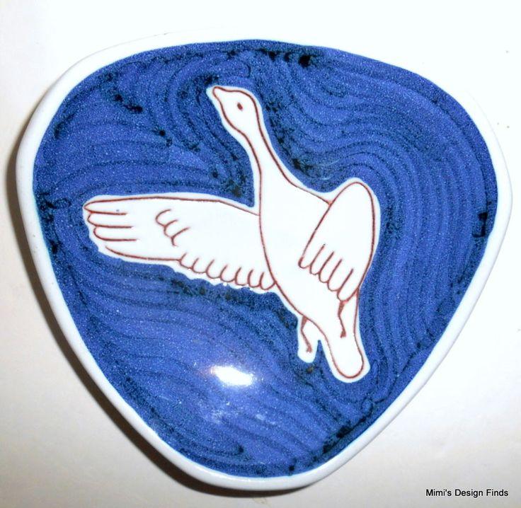 "Mid Century NORWAY Ceramic Pottery Tri-Corner Dish Blue w/ White Duck? 6"" EUC #MidCenturyModern"