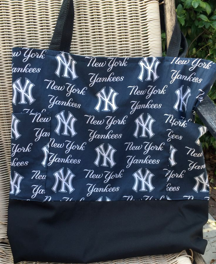 Yankees New York Custom Diaper Bag, Daddy Diaper Bag, Two Outside Pockets, Tote, Purse, Shopping Bag, lined, baseball games, Market Bag by designsbyfancyrose on Etsy