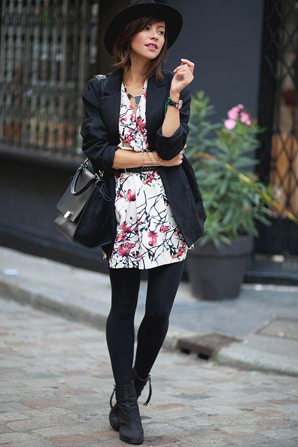 Robe imprimé nature blanche et rose, sac noir et chapeau. Parfaite en mi saison ! Les babioles de Zoé