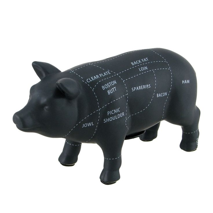 Black Ceramic Pig Shaped Coin Bank Butcher Chart Piggy Bank 6 in.