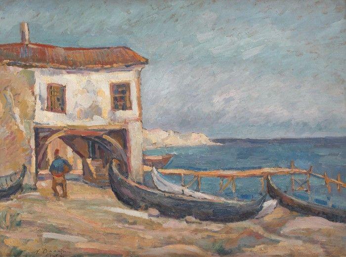 """Nicolae Dărăscu, """"Atelier de bărci în Balcic"""""""
