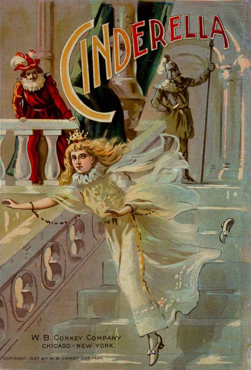 Cinderella book cover. This vintage illustration of Cinderella shows Cinderella running down steps as she loses a slipper. Circa 1897 for W.B. Conkey Company of Chicago and New York.
