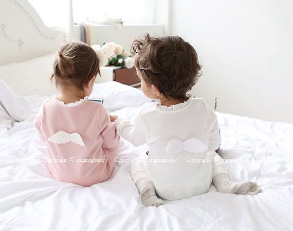Angel Wings Jumpsuit / White Pink Mint Romper boys & girls /Spring jumper suit / baby shower gifts / 1st birth day prop / baby girls Outfit