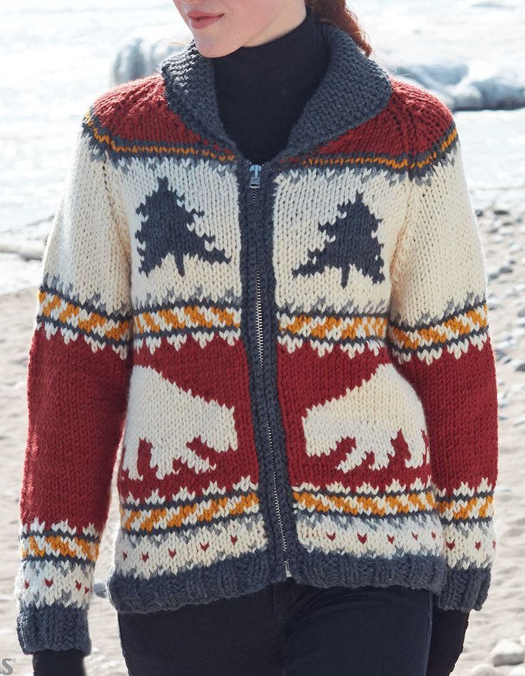 Free Knitting Pattern for True North Jacket - Cozy long-sleeved zip front cardigan with fair isle bear, tree motifs. Sizes from Adult XS to 5XL