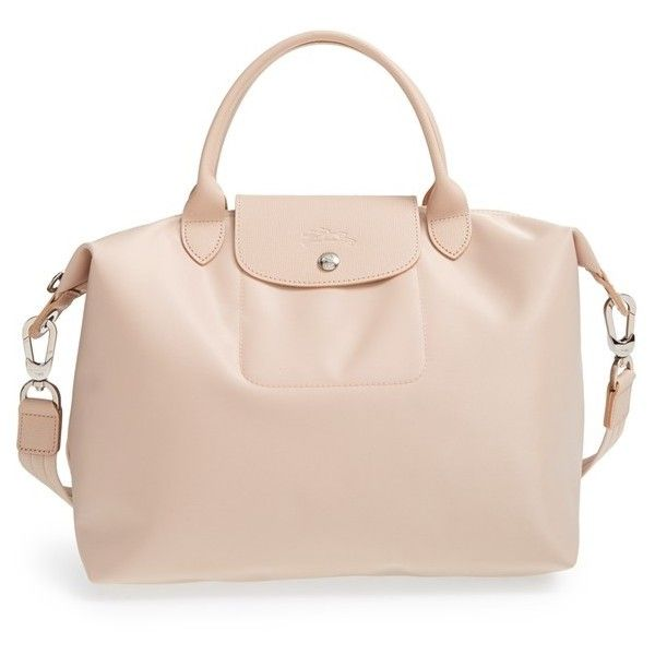 Women's Longchamp 'Medium Le Pliage Neo' Nylon Tote (860 ILS) ❤ liked on Polyvore featuring bags, handbags, tote bags, sac, pink handbags, tote handbags, longchamp tote, nylon handbags totes and foldover tote