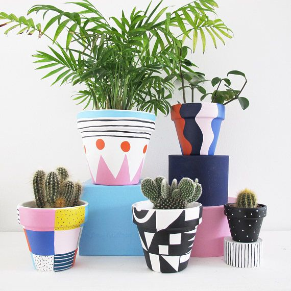A Hand Painted Plant Pot With Bold Wave Pattern A Fancy Home For A Special Plant Measures 11cm High X In 2020 Painted Flower Pots Plant Pot Design Painted Plant Pots