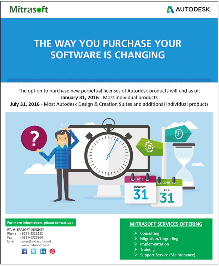 #MitrasoftNews THE WAY YOU PURCHASE YOUR SOFTWARE IS CHANGING. The option to purchase new perpetual licenses of #Autodesk products will end as of: January 31, 2016 (most individual products) and July 31, 2016 (most Autodesk Design & Creation Suites and additional individual products). Like us: https://www.facebook.com/pt.mitrasoft.infonet Follow us: https://twitter.com/Mitrasoft_PT https://www.linkedin.com/company/mitrasoft-infonet