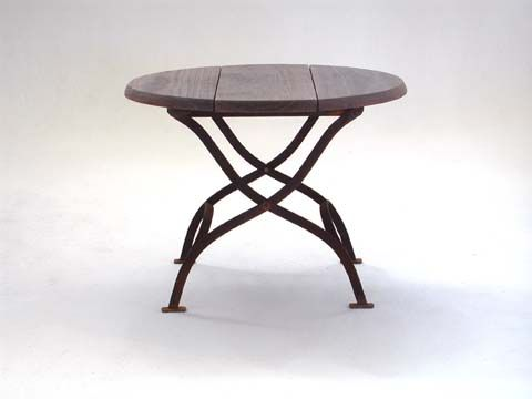 Side Table with Natural Timber Top and Rust Finish Frame Base - Inside Out Home Boutique