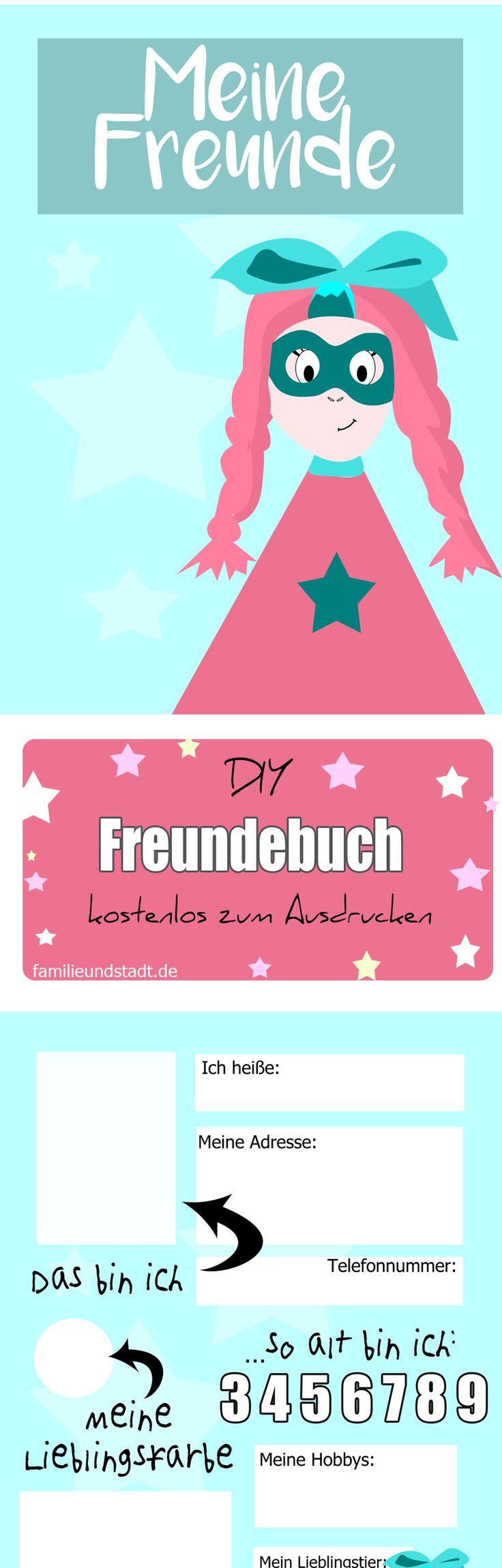 Freebie Freundebuch Vorlage Zum Ausdrucken Für Kindergarten Und Schule,  Druckvorlagen Für Kinder Kostenlos