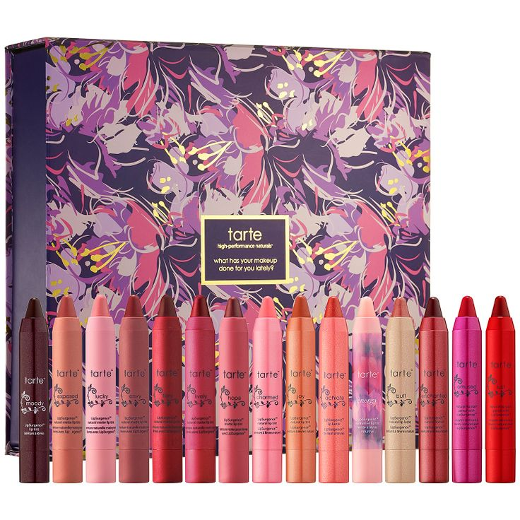Tarte, the originator of the go-to chubby lip pencil, has created an exclusive, memorable, and lip-lasting 15-piece LipSurgence collector's set! #Sephora #gifts #makeup #lips