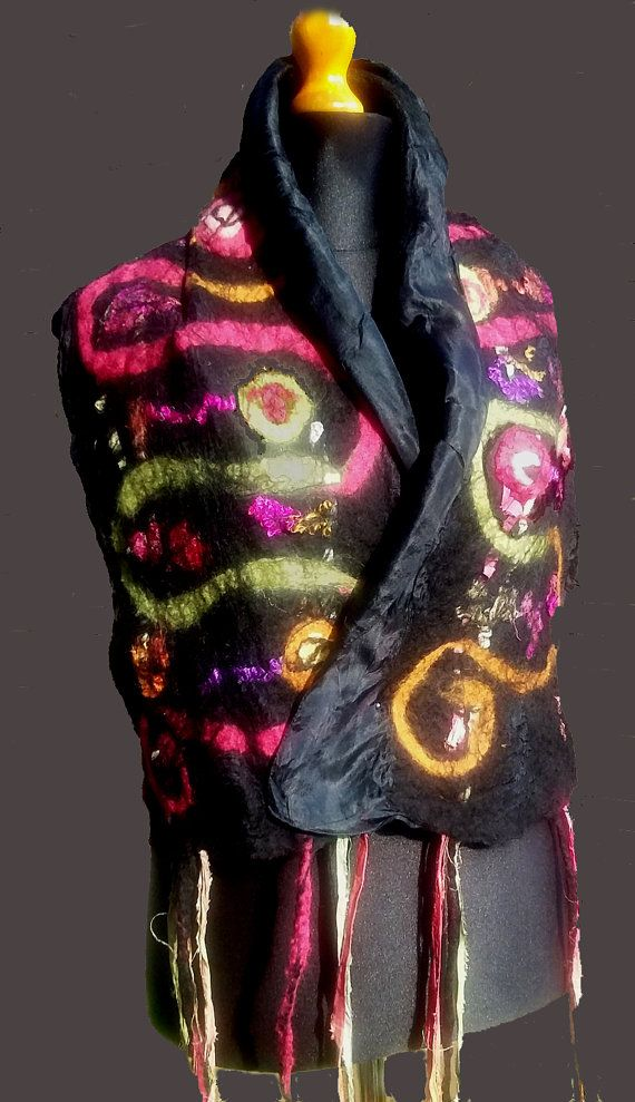 Nuno felted scarf made with merino wool on pure silk.
