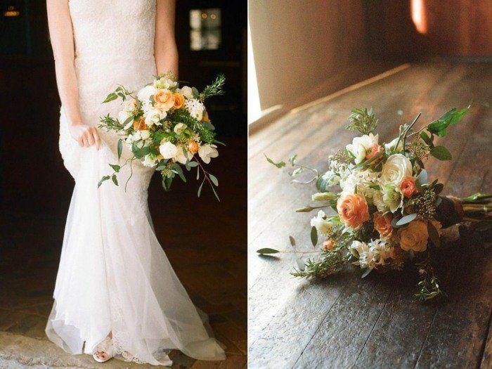 bouquet de mariée en roses couleur blanche et pêche
