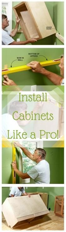 Install Cabinets Like a Pro!: Tips for installing box cabinets successfully. Learn how to hang kitchen wall cabinets and install island cabinets with these pro tips. http://www.familyhandyman.com/kitchen/diy-kitchen-cabinets/how-to-install-cabinets