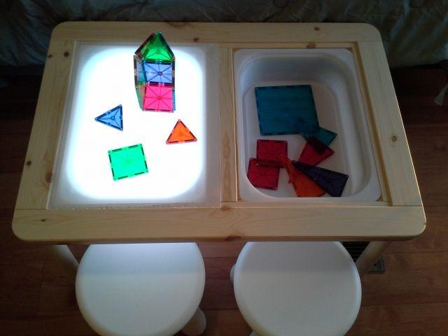 DIY light table with ikea table Sensory Boxes, Sensory Table, Sensory Play, Sensory Diet, Diy Light Table, Diy Table, Infant Activities, Activities For Kids, Trofast Ikea