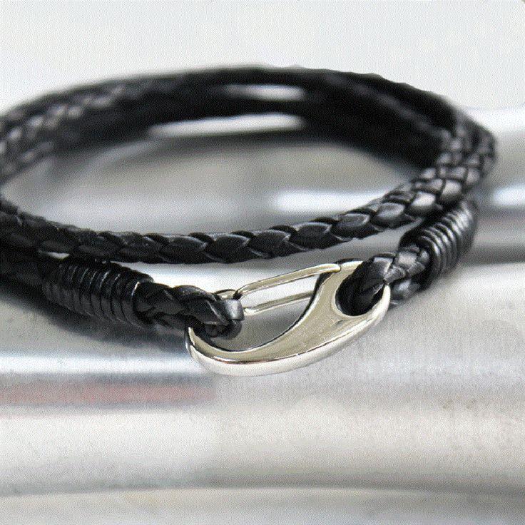Men's double wrap leather bracelet