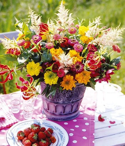 Summer bouquet of astilbe, zinnias and glorious - [LIVING AT HOME]
