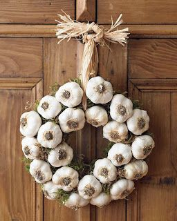 green halloween garlic wreath ward off vampires with an odiferous warning - Vampire Halloween Decorations