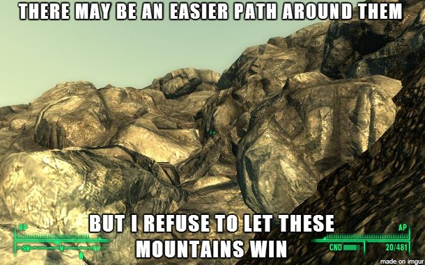 #Fallout Fun and Mountains via Reddit user nathworkman
