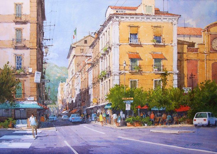 Ian Ramsay Watercolors - Piazza Tasso, Sorrento, Italy