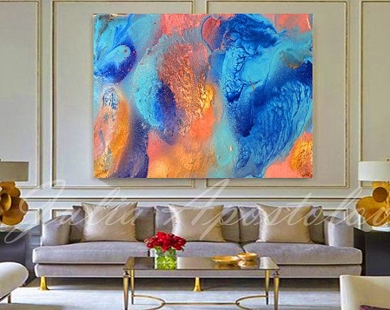 Turquoise and Orange Teal Decor Abstract Painting Turquoise