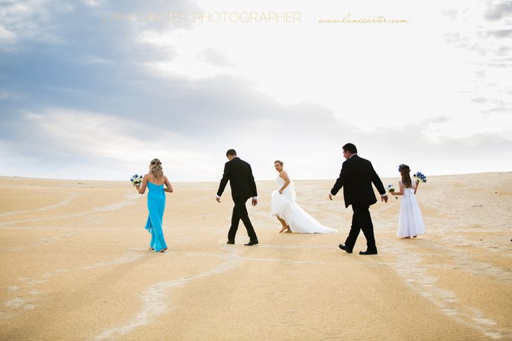 Bridal party at Carlos Sand Blow, Rainbow Beach. www.lanicarter.com