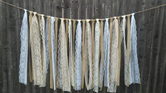 Burlap and Lace Fabric Strip Garland if I could add starfish in this it would be great!