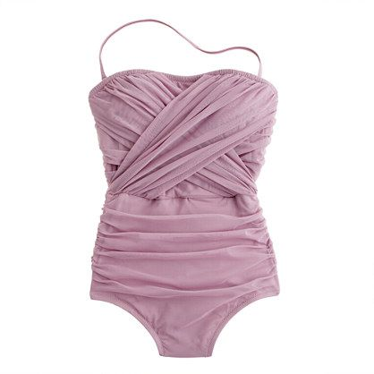 "Tulle Bandeau Tank, in ""ancient fig,"" from J. Crew.  Would be so flattering.  ""Our most sophisticated suiting, with très chic tulle detailing inspired by vintage French swimwear.""  Heh.  No wonder I like it."