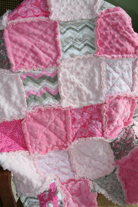 Baby Girl Rag Quilt Pink Grey Nursery