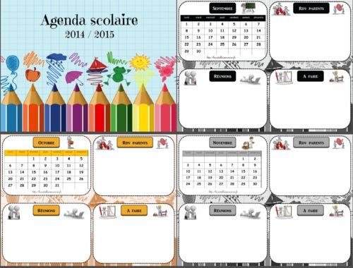 Agenda scolaire mural 2014 /2015