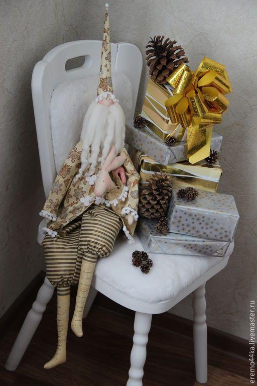 Купить Пряничный Санта с мешком подарков! - золотой, новый год 2016, Новый Год, санта клаус