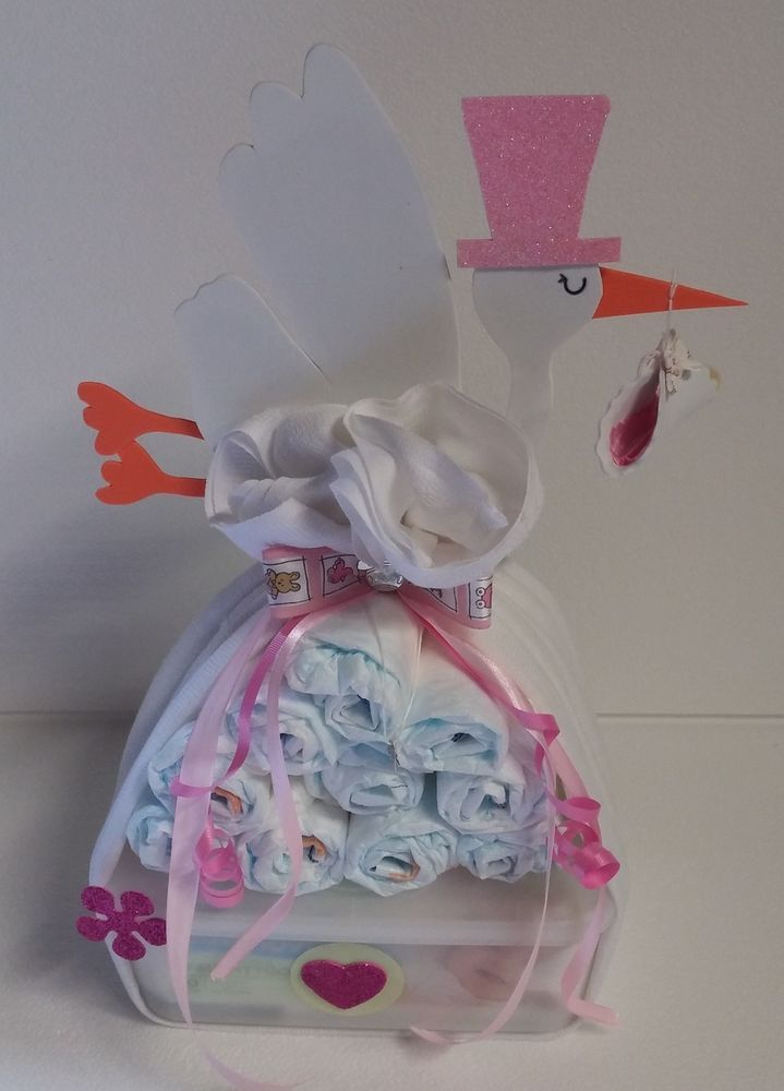 ♥ diaper cake diaper bunch pink baby gift christening gift souvenir girl …  – Babykleidung