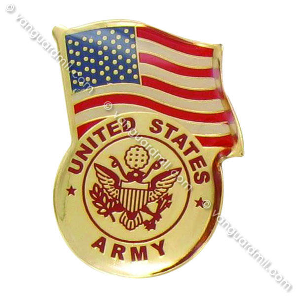 Army Lapel Pin United States Flag with Army Emblem