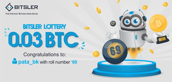 Winning roll number: 69. Congratulations to user pata_bk who won 0.03 Ƀitcoin!