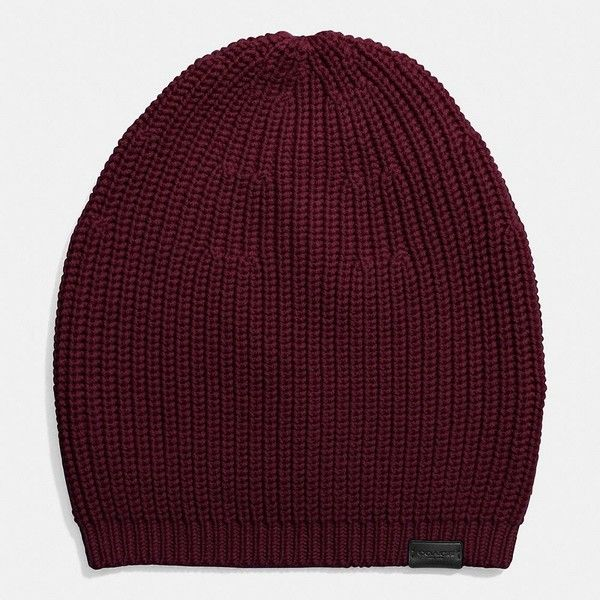 Coach Merino Knit Hat ($95) ❤ liked on Polyvore featuring accessories, hats, oxblood, merino hat, merino wool hat, ribbed hat, coach hat and knit hat
