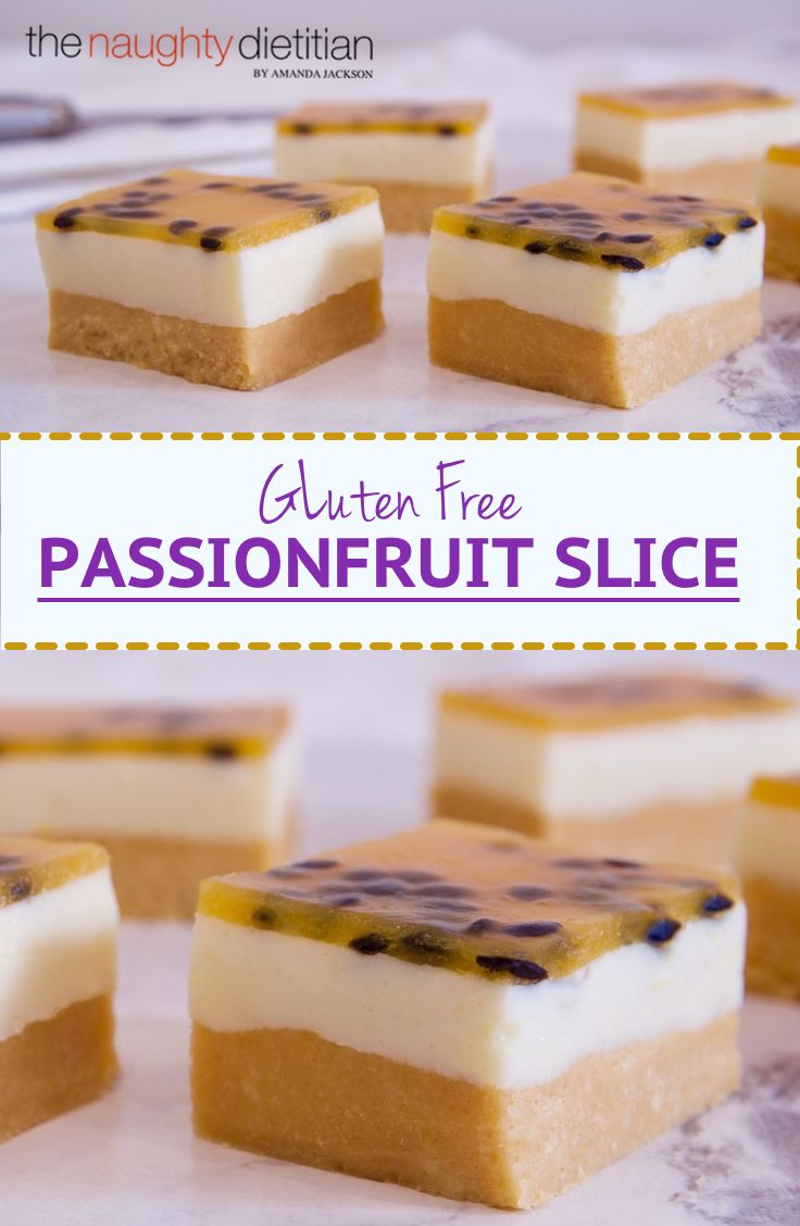 This Gluten Free Passionfruit Slice is a scrumptious no bake slice. Containing a buttery biscuit base, milk jelly filling and passionfruit topping. YUM! | Easy Gluten Free Slice | Easy Gluten Free Dessert | Gluten Free Slice Recipe | Gluten Free Recipes | Easy Gluten Free Dessert Recipes | Passionfruit Dessert Recipe | Passionfruit Slice Recipe | Gluten Free Slice Recipe | No Bake Recipe | No Bake Gluten Free Recipe | www.thenaughtydietitian.com