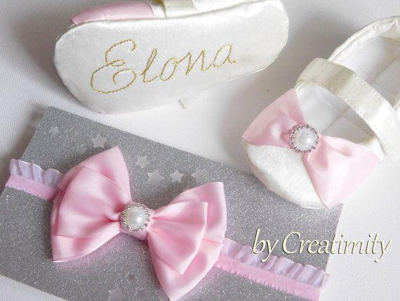 White christening baby girl shoesbaby by CreatimityElegance