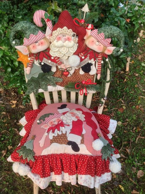 Cartamodelli Babbi Natale ed Elfi 2014 : Cartamodello cuscino e spalliera Babbo Mirtillo Elfo Pistillo