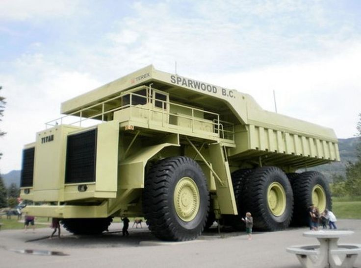 The World's biggest truck 'lives' in Sparwood, in British Columbia, Canada. There's nothing like it. Built by General Motors of Canada, the 1974 Terex Titan weights 260 tons, produces 3,300 hp and has a payload of 350 tons. Terex