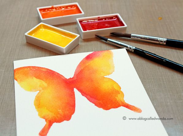 Butterfly Stencil | Watercolor: KURETAKE GANSAI TAMBI {Great Photo Tutorial} (wc2, stencil)