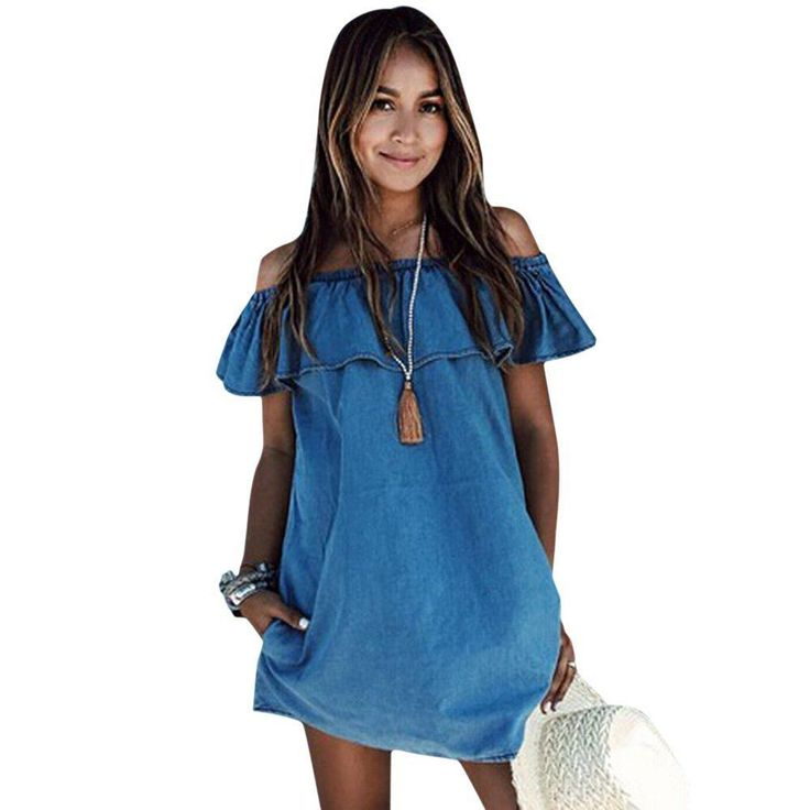 Sweet Off The Shoulder Ruffle Loose Denim Dress Casual Party Cocktail Dress