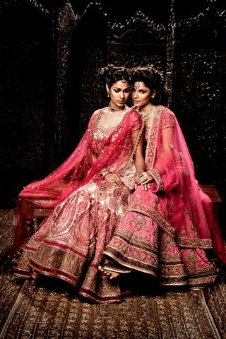 Pink is the color to wear if you are having a monsoon wedding,take a cue from the beautiful bridal collection of Tarun Tahiliani.A blend of the East and West. His signature embroideries are best showcased in European-cut gowns.