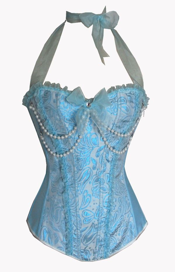 Zip Up Blue Corset Top Womens Bustier with Pearls