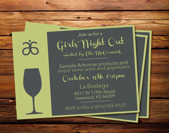 Arbonne Girls Night Out Invitation  **Please Read**    THIS IS NOT A DIGITAL FILE THAT YOU CAN EDIT. I WILL MAKE THE EDITS FOR YOU AFTER YOUR PURCHASE. PLEASE LEAVE YOUR EVENT