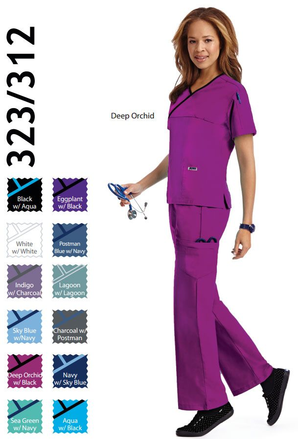 323/312 Set : Women's Set  Criss Cross Flip Flap Scrub Set  Fresh, clean appearance and excellent quality. The Criss Cross, Flip Flap Set, for Women, is a wonderful combination of two MOBB best selling scrubs.  The Criss Cross scrub top is accented with a contrast color trim and has two lower pockets and one shoulder pen pocket. The Flip Flap pant is a MOBB classic with a logo waistband that can be flipped down for a lower rise