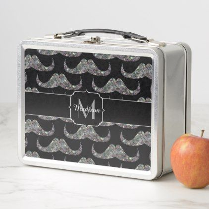 Sparkly silver mosaic Mustache pattern Monogram Metal Lunch Box - monogram gifts unique custom diy personalize