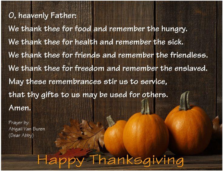 Thanksgiving Prayer Written By Ann Landers Dear Abby
