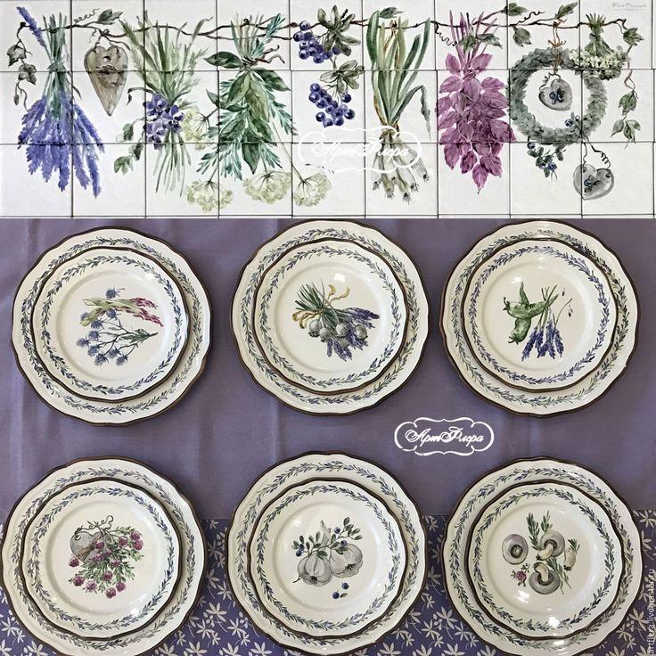Купить Роспись фарфора Тарелки столовые Травки - тёмно-фиолетовый, тарелки, столовые тарелки