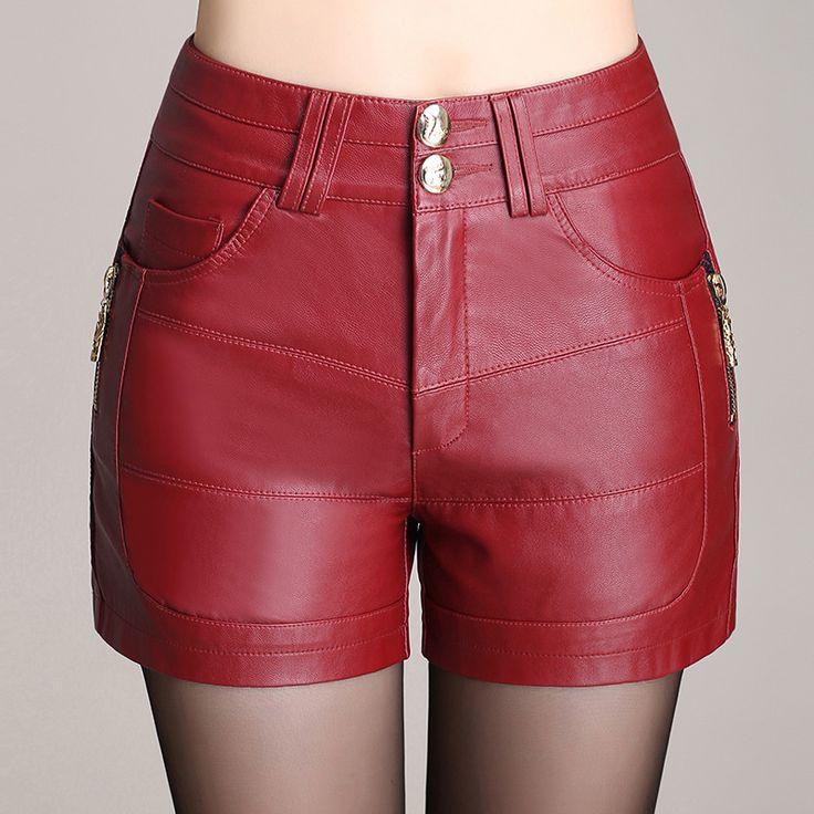 Новый зимний пу кожаные шорты женщин-сапоги высокая талия мода шорты женский черные кожаные шорты Большой размер красный и черный